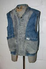 VTG 80s Guess Georges Marciano Acid Wash Distressed Denim Jean Vest Jacket Sz L