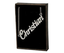 """Name Necklace """"CHRISTIAN"""" - 18ct White Gold Plated - Custom Bridesmaid Birthday"""