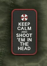 KEEP CALM AND SHOOT 'EM IN THE HEAD ZOMBIE 3D PVC Velcro Morale Military Patch
