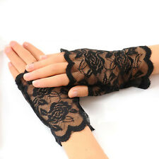 Black Charm Sexy Lady Girl Lace Party Costume Gloves Finger Fingerless Glove a