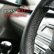 FOR ROVER 200/25 99-05 BLACK PERFORATED REAL LEATHER STEERING WHEEL COVER GREY