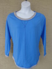 NEW Just  My Size L/S scoop neck Twofer Tee Top blue/gray 2X