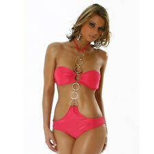 HoT ♥ Sexy Gogo Strip Monokini Body Top Bikini pink Ringe  34 36 38 NEU