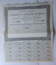 Commerce Et Industrie Au Maroc Action De 250 Francs