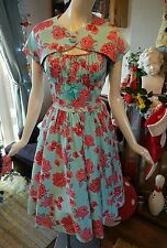 PIN UP GIRL CLOTHING COUTURE PUG EVELYN DRESS & BOLORO SIZE L 16 50S ROCKABILLY