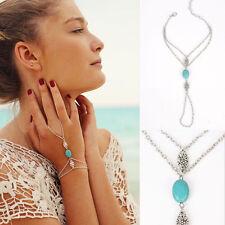 Retro gold multi chain tassel bracelet turquoise esclave finger ring hand harness