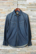 NUOVO WRANGLER Camicia Di Jeans Manica Lunga Slim Fit Blu Misura S Small