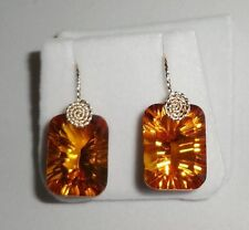 32cts Octagon Concave Orange Citrine gemstone 14kt yellow gold Pierced Earrings