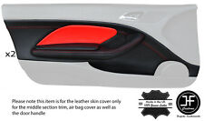RED STITCH 2X FRONT DOOR CARD TRIM LTHR COVERS FITS BMW E46 CONVERTIBLE COUPE