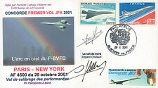 "FFC à bord ""CONCORDE - Vol Calibrage AF4500 Paris-New York"" 2001 signée CHILLAUD"