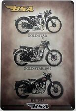 BSA MOTORCYCLE METAL TIN SIGNS vintage cafe pub bar garage decor shabby