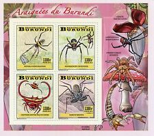 Burundi 2014 MNH Spiders of Burundi 4v Deluxe M/S Insects Araignees