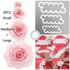 3pcs 3D Rose Petal Flower Cutter Fondant Cake Sugarcraft Decorating Icing Mould