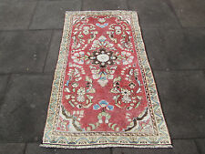 A Shabbychic OLD HAND MADE PERSIAN Oriental Pinks wool Rug 150x90cm 5'x3'