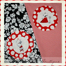 BonEful Fabric LOT Cotton QUILT Andover OLIVIA the PIG Red B&W Stripe Flower OOP