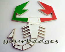 Enamel Chrome Italian Flag Colours ABARTH Scorpion Car BADGE Fiat Punto 500