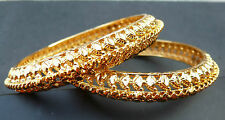 Indian Kangan 18 Ct Gold Plated 2 Bangles Bracelets Ethnic Bollywood 2.4''