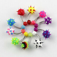 10pcs Lot 14 gauge UV Silicon Ball Soft Spike Navel Rings Body Jewelry JW711 HW