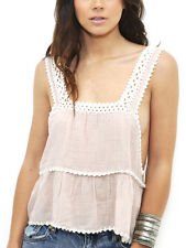 Somedays Lovin Field Of Dreams Peach Pink Cream Crochet Cotton Sun Top Vest XS M