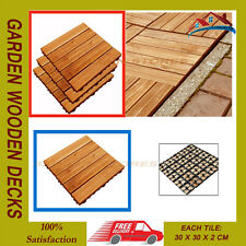 27PC GARDEN WOODEN DECKS SLABS DECKING FLOOR INTERLOCKING TILES 30CM SQ