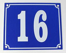 """Aluminium Hausnummer """"16"""" 12x10cm blau Hausnummernschild sofort lieferbar Schild"""