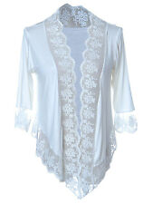 Anna-Kaci S/M Fit White Semi Sheer Open Shrug Lace Three Quarter Sleeve Cardigan
