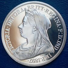 1897 UK GB Retro Pattern Proof Crown Pewter  Queen Victoria