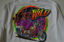 NEW HOG WILD Chopper Moto Motorcycle Mens Long Sleeve T Shirt MEDIUM M + Sticker