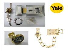 Henderson 60mm Reversible Nightlatch Pestillo & Cilindro y cadena de níquel & Yale espía