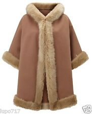 WOMENS CAMEL JOHN LEWIS FAUX FUR HOODED WINTER CAPE COAT PONCHO 1 SZ NEW RRP£140