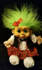 "1992 M.T. Troll Doll ADORABLE SCHOOLGIRL 16"" GREEN HAIR AND EYES"