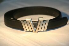 Gianni Versace Men's Leather Belt with Silver V logo and Flanking Chevrons