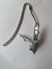 C19 Long-Eared Bat   Pattern bookmark with cord 3D English pewter charm