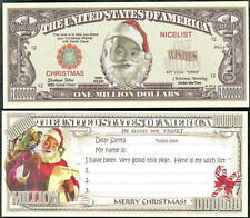 Santa's Wish List Christmas Million Dollar Bill Fake Funny Money Novelty Note