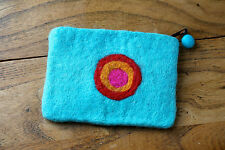 NEW HANDMADE 100% WOOL Turqouise FELT LOVELY CIRCLE PATTERN PURSE GIFT