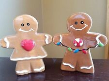 Salt & Pepper Shakers GINGERBREAD MEN Man and Woman Holiday Table   NEW (NIB)