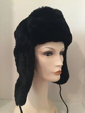 Russian Winter Hat USHANKA Faux Fur Black Small Sz 56 Unisex Men's Women's