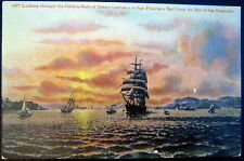 SAN FRANCISCO CA~1910 OLD SAIL SHIPS IN GOLDEN GATE BAY AT SUNSET