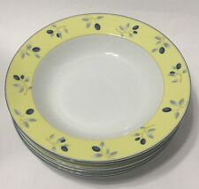 Royal Doulton Set of 6 Soup Bowls Blueberry Pattern Yellow Blue White EUC