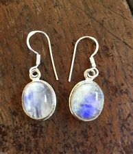STUNNING!! RAINBOW MOONSTONE 925 SILVER EARRINGS JEWELLERY REIKI NEW AGE