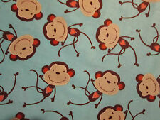 SOCK MONKEY HEARTS TAN BROWN ON TEAL COTTON FABRIC FQ