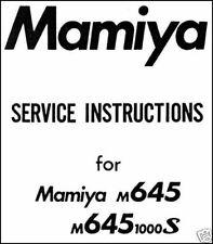 MAMIYA M645 1000S M 645 M645-1000S Camera Service Manual Repair Instruction CD