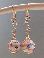 Vintage Deco Floral Wedding Cake Glass Beads 14ct Rolled Gold Earrings