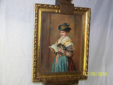 Alice Hunter Listed American c1901 Original Oil On Canvas Portrait Painting