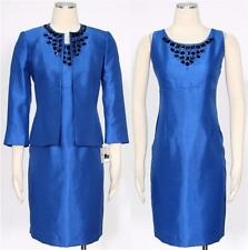 New Mismatched Sizes Kasper Women's Electric Blue Beaded Dress Suit Sz 10P/10