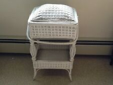 Unique Vtg White Wicker Sewing, Knitting Etc. Stand