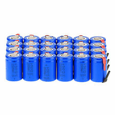 Lot of 24Pcs NiCd 4/5 SubC Sub C 1.2V 2200mAh Rechargeable Battery with Tab Blue