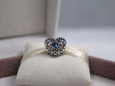 New w/Box Pandora December Signature Heart Charm 791784NLB London blue crystal