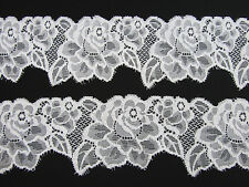 "5 yard White Elastic/Stretch 2.5"" Wide Rose Pattern Floral Lace Trim/sewing T199"