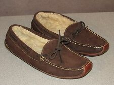 LL BEAN Double Sole Shearling Lined Leather Moccasin Slippers Women's Size 8 M